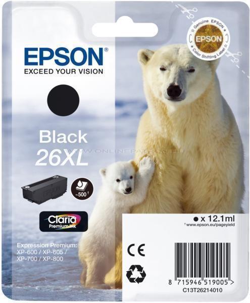 Epson 26 XL fekete EREDETI festékpatron T2621 XP510 XP520 XP600 XP605 XP610 XP615 XP620 XP625 XP700 XP710 XP720 XP800 XP810 XP820