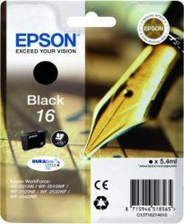 Epson T1621 eredeti festékpatron EXTRA nagy kapacitás WF2010W WF2510WF WF2520NF WF2530WF WF2540WF T1621 4010 Tintapatron Workforce WF2540WF nyomtatóhoz, EPSON fekete, 5,4ml